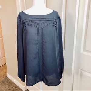 Loft charcoal gray long sleeve blouse